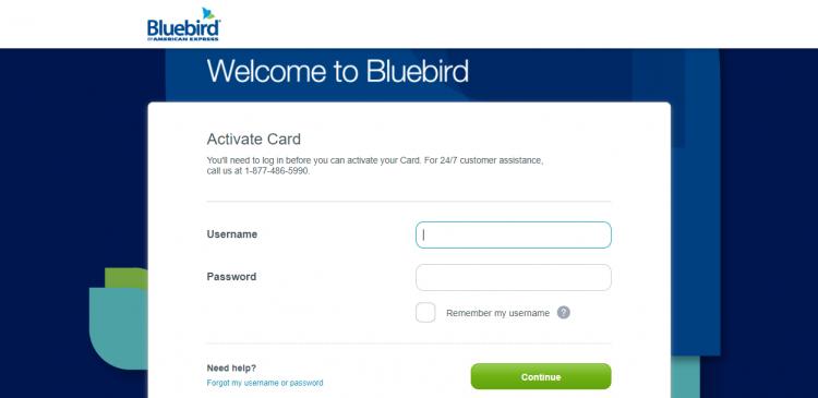 Bluebird card activation